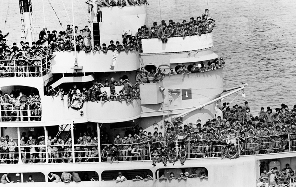 South Vietnamese Troops Aboard Commandeered Ship